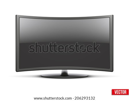 Frontal view of curved widescreen led or lcd tv monitor. Vector Illustration isolated on white - stock vector