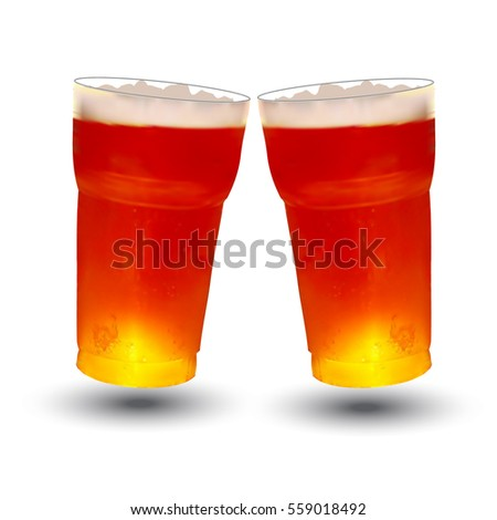frosty glass of beer, vector illustration reflection