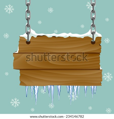 Frosty wood panel with snow and icicles - stock vector