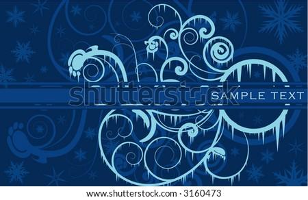 frozen floral design - stock vector