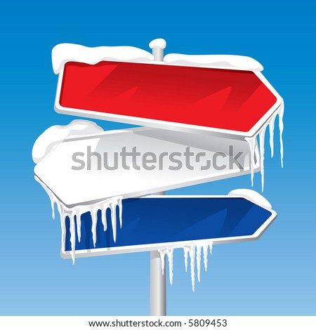 Frozen Signpost (editable vector). In the gallery also available XXL jpeg image made from this vector - stock vector