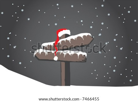 Frozen wood sign with santa's hat - stock vector