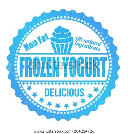 Frozen yogurt grunge rubber stamp on white, vector illustration - stock vector