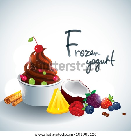 Frozen yogurt with fruit topping - stock vector