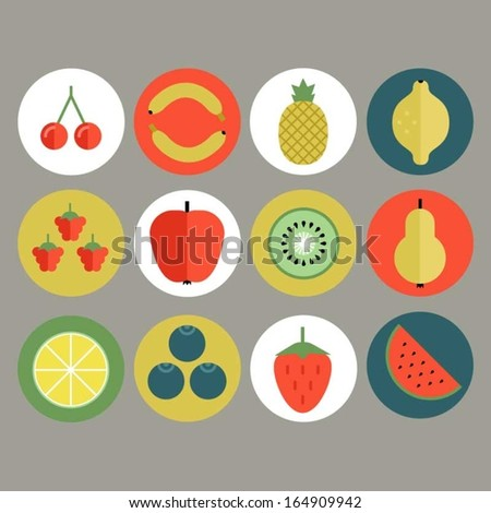 Fruit and berry icon set - stock vector