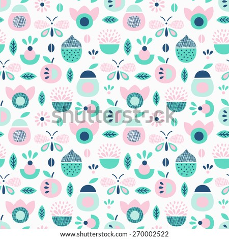 Fruit and butterfly seamless pattern. Vector illustration. - stock vector