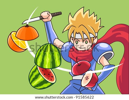 fruit and ninja - stock vector