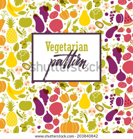 Fruit and vegetable rainbow seamless pattern. Healthy food table in rainbow. Vegan and vegetarian cuisine - stock vector