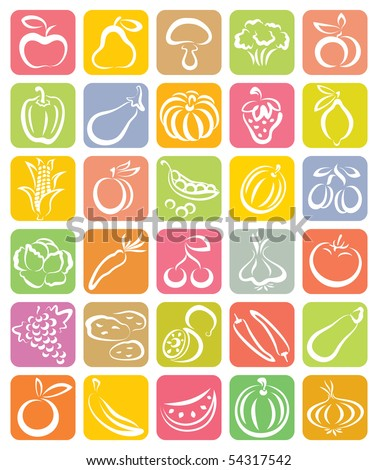 Fruit and vegetable set - stock vector