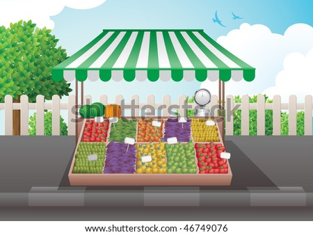 Fruit and vegetable stall vector illustration. Elements are layered separately. - stock vector