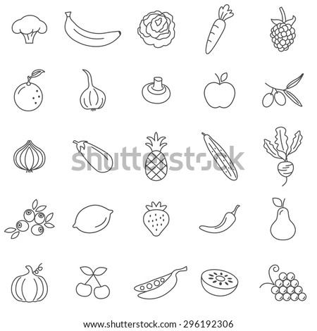 Fruit and vegetables line icons set.Vector - stock vector