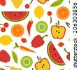 Fruit  and vegetables seamless background - stock vector