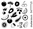 Fruit and vegetables silhouettes - stock vector