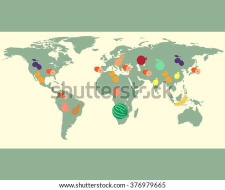 Fruit vegetables world map vector illustration stock vector 2018 fruit and vegetables world map vector illustration preschool baby continents oceans gumiabroncs Gallery