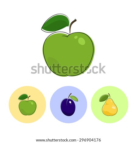 Fruit Apple  on White Background , Set of Three Round Colorful Icons  Apple, Plum and Pear, Vector Illustration - stock vector