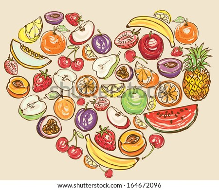 Fruit arranged in heart shape - stock vector