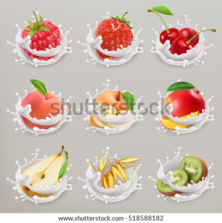 Fruit, berries and yogurt. Strawberry, raspberry, cherry, pear, peach, apple, mango, kiwi, grain. 3d vector icon set 1