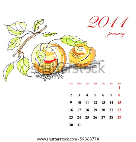 Fruit calendar for 2011, january