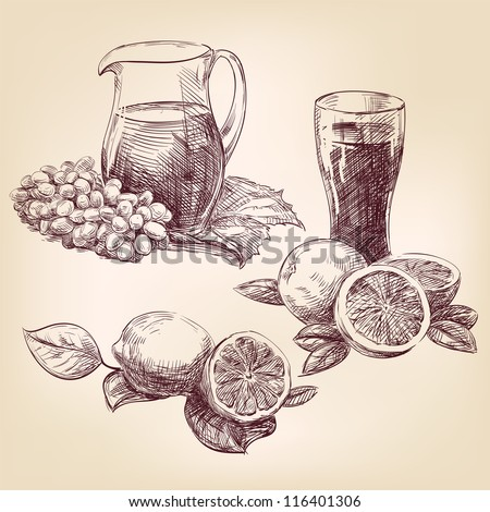 fruit collection vintage hand drawn vector illustration  isolated - stock vector