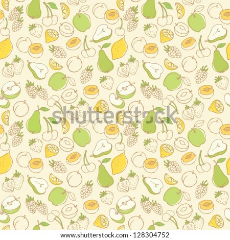 Fruit doodles seamless vector