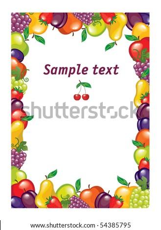 fruit frame - stock vector