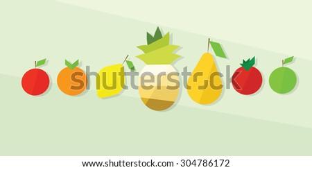 fruit icon set. flat design - stock vector