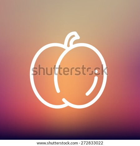Fruit icon thin line for web and mobile, modern minimalistic flat design. Vector white icon on gradient mesh background. - stock vector