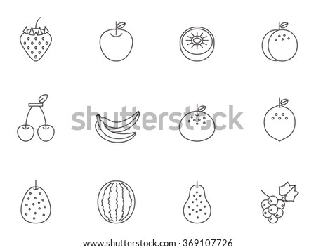 Fruit icons in thin outlines.  - stock vector