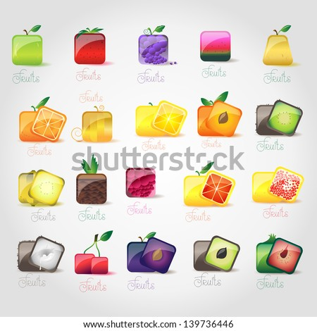 Fruit Icons Set - Isolated On Gray Background - Vector Illustration, Graphic Design Editable For Your Design - stock vector