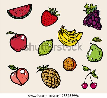Fruit icons. Vector illustration. Hand drawing on a graphic tablet.