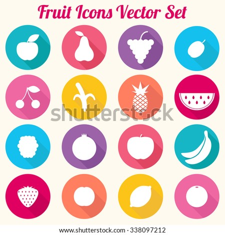 Fruit Icons Vector Set - eps10 - stock vector