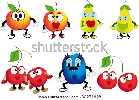 Fruit isolated on a white background - stock vector