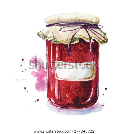Fruit jam with a sticker. Mason jar. Watercolor. Hand painted. - stock vector