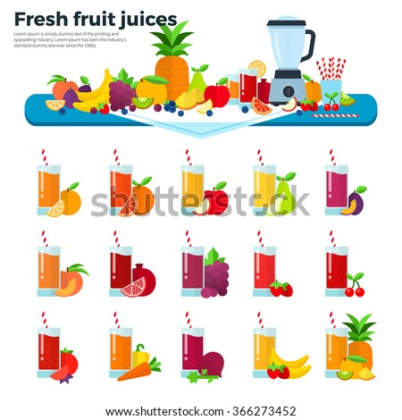 Fruit juices vector flat illustrations. Many fresh fruits and  liquidizer on the table. Healthy lifestyle and summer concept. Orange, apple, pear, peach, pomegranate, grapes, banana juices isolated - stock vector