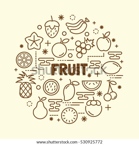 fruit minimal thin line icons set, vector illustration design elements