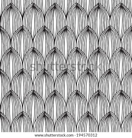 Fruit seamless pattern in black and white is hand drawn ink illustration. Illustration is in eps8 vector mode, background on separate layer.