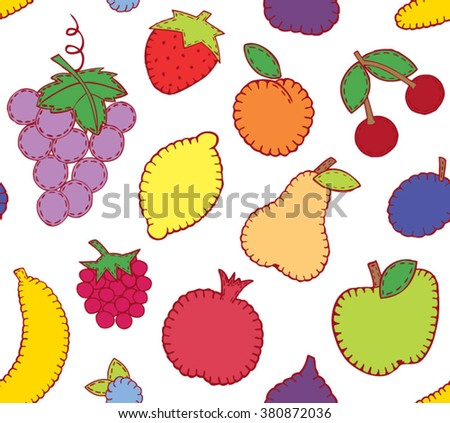 Fruit seamless pattern. Vector illustration.