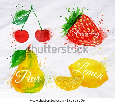 Fruit set drawn watercolor blots and stains with a spray cherry, lemon, strawberry, pear - stock vector