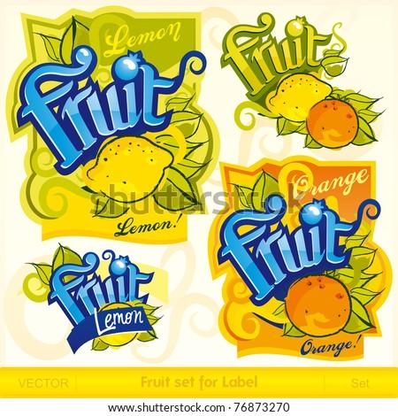 Fruit set for label - stock vector