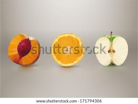 Fruit slices: peach, orange, apple. Low-poly triangular style illustration - stock vector