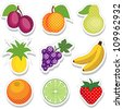 Fruit Stickers, polka dot design: plums, peach, pear, pineapple, grapes, bananas, orange, lime, strawberry isolated on white. EPS8 compatible. - stock vector