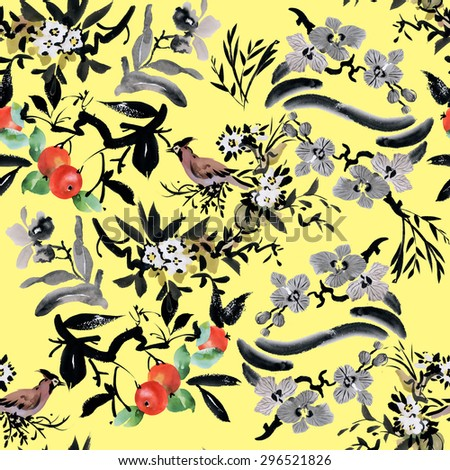Fruit tree apple and birds with flowers watercolor seamless pattern on yellow background vector illustration - stock vector