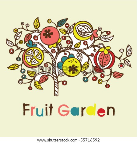 fruit tree background - stock vector