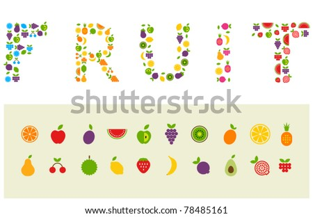 Fruit word made of fruits - stock vector