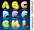 Fruits And Berries In Alphabetical Order. Cartoon Vector Illustration. Letters from A to I. - stock photo