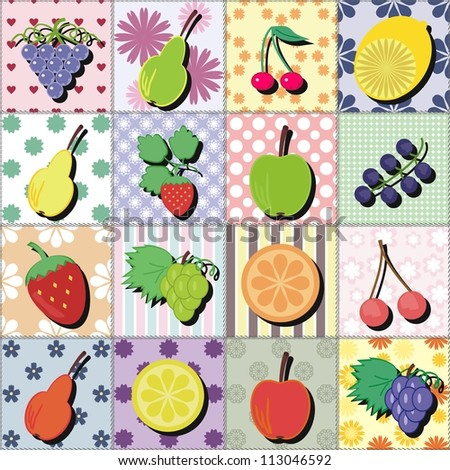 fruits and berries on patchwork background