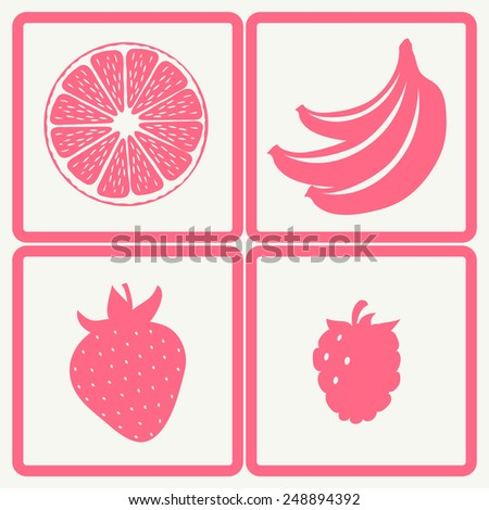 Fruits and berries simple silhouette icons. Orange, banana, strawberry, raspberry. - stock vector