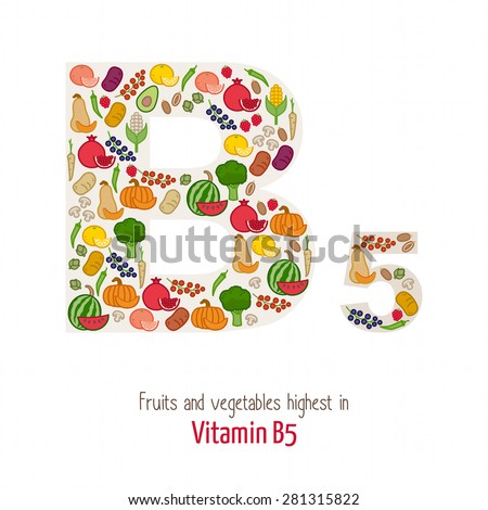 Fruits and vegetables highest in vitamin B5 composing B5 letter shape, nutrition and healthy eating concept - stock vector