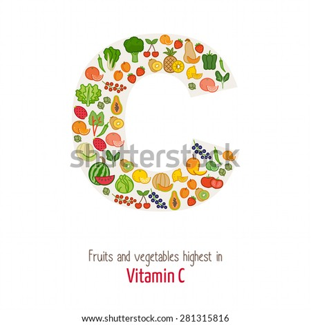 Fruits and vegetables highest in vitamin C composing C letter shape, nutrition and healthy eating concept - stock vector