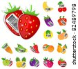 Fruits and vegetables icon set. Vector illustration - stock vector